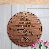 Reloj de Pared de Madera Te Vas a Grandes Lugares Hoy es tu día Tu montaña está Esperando Suess Quote Reloj Colgante Redondo de 30 cm Reloj rústico de Estilo Toscano Decoración de Pared Sile