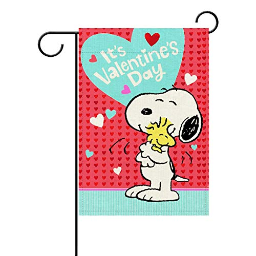 PEDEIECL Garden Flag,Snoopy Valentine's Day- Double Sided Outdoor Flag Linen House Banner for Yard Home Decor 12'x18' Flag Snoopy Flag for Garden Lawn Balcony.