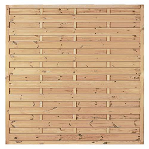 Gartenzaun Maxi-Massiv-Serie I Lamellenzaun, Sichtschutzzaun aus Kiefer-Fichte-Holz, Farbe grün, druckimprägniert I Standard I 180 x 180 cm I 1 Element I Zum Aufschrauben