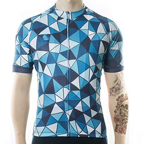 Heren Wielertrui - Zomer Korte Mouw Blauwe Geometrie Afdrukken Groot Formaat Top Shirt Quick Dry Mtb Fietskleding Fiets Slijtage Kleding Voor Fietsen Racen Mountain Sportswear,3Xl