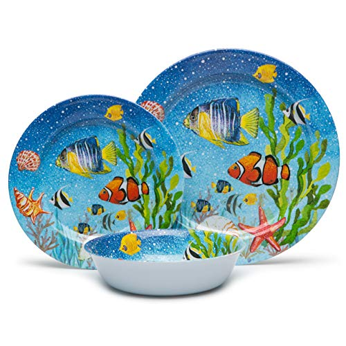 Melamine Dinnerware Set for 4, 12pcs Unbreakable Bowls and Plates Set for Thanksgiving Day, Service for 4, Dishwasher Safe, Indoor Outdoor Use, Sea Fish Pattern