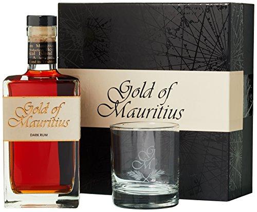 Gold of Mauritius Dark Rum 40% Vol. 0,7 l + GB mit Glas
