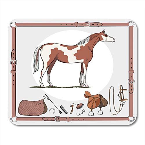 Muis Pads Paard en Riding Tack Gereedschap in Lederen riem hoofdstel Zadel stijgbeugel Bruish Bit Harness Zweep Paardengesp muismat