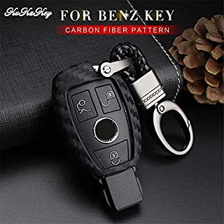 KUKAKEY Carbon Fiber Car Key Cover Case Fob Skin for Mercedes Benz Accessories W203 W210 W211 W124 AMG Auto Car Styling Keyring
