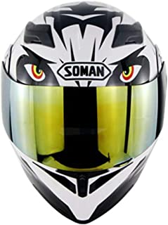 Modular Flip Up Dual Visor Sun Full Face Motorcycle Helmet with Gold Lens, DOT Approved Open Face Moto Helmet for Racing Car Locomotive Unisex-Adult,M