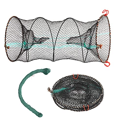 BIGKASI Rete da pesca in nylon piegata 2 pezzi Set trappola per pesci 30 * 60 cm Trappola per esche Trappola per granchi Trappola per pesci con linea intrecciata Accessori per la pesca