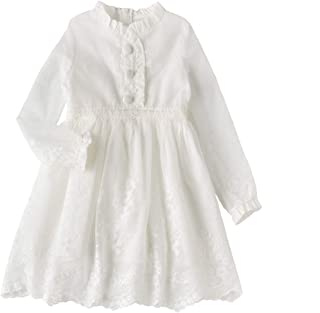 Baby Thin Girl Lace Flower Embroidered Dresses for Age 2-12 Kids Birthday Party Gift
