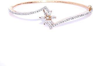 PRITA Stylish Rosegold& White American Diamond Rose Gold Plated Bangle-Style Bracelet for Women and Girls