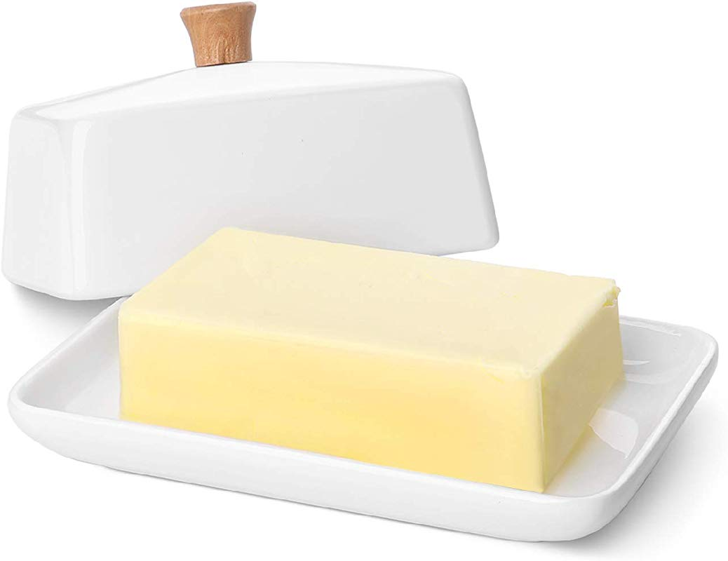 Flexzion Ceramic Butter Dish And Lid Cover East West Butter Storage And Preservation For Kitchen Countertop 8 Inch White