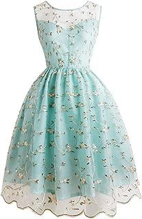 KCatsy Women Summer High Waist Embroidery Retro A Line Sleeveless Dress