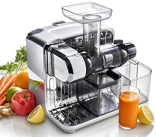Omega Cube Nutrition System Juicer Creates Fruit Vegetable & Wheatgrass Juice Slow Masticating Compact Design with Convenient Storage, 200-Watt, Silver