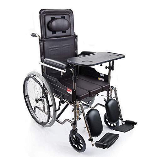 Y-L Creative Seniors Multi-Functionele Staal Rolstoel, Opvouwbare Draagbare Transport Reisstoel, Ouderen Reizen Rolstoel, Met Eettafel, Toilet Box Booster Pedaal/Aantal 2 / 116X47Cm, Hoeveelheid