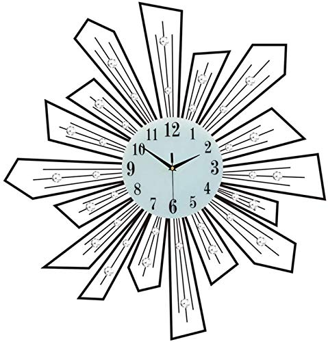 JFFFFWI 20 Inch Crystal Wall Clock, Modern Style Silent Movement Wall Clock Glass Dial Black Clock Decor for Living Room, Bedroom, Kitchen and Office, C
