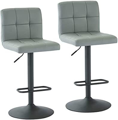 Contemporary Adjustable Grey Upholstered Bar Stool by Coaster 120696 Set of 2