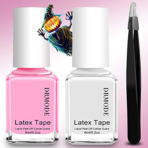 Liquid Latex for Nails - 2PCS Upgrade Fast Drying Peel Off Nail Polish Barrier Cuticle Guard, Stamping Skin Protector Latex Tape with Bonus Tweezers for Various Nail Art by DR.MODE