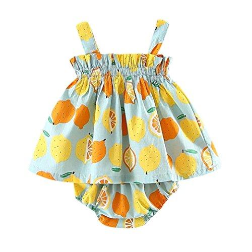 Coloré(TM Robe Fille Newborn Baby Girls Lemon Print Strap Dress + Dentelle Shorts Vêtements Tenues Ensemble (Menthe Verte, 12M)