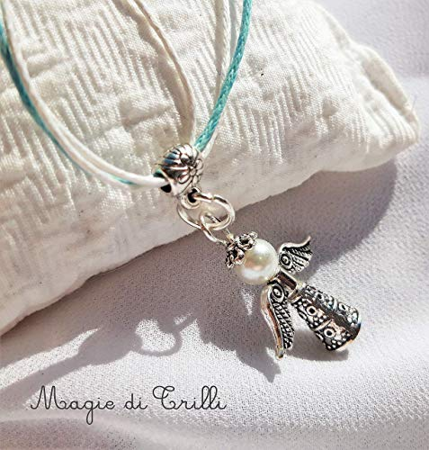 Magie di Trilli - Collana artigianale comunione bambina ragazza ciondolo artigianale angelo custode con perla in argento tibetano - Regalo Comunione, Cresima