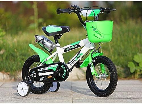 Fenfen Kinderwagen Kinder Fahrrad 16 Zoll Kinderwagen Baby Bike 4-7 Jahre Alt Kohlenstoffstahl MTB, Orange Grün (Farbe   Grün)