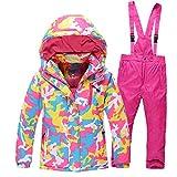 LSERVER Ensemble Veste de Ski Pantalon Neige Enfant Fille Garçon Manteau d'hiver Sport Outwear Coats, Camouflage Rose...