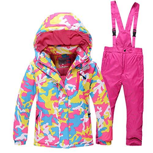 LPATTERN Kinder Jungen/Mädchen Skifahren 2 Teilig Schneeanzug Skianzug(Skijacke+ Skihose mit unabnehmbarem Träger), Pink, Gr. 110/116(Herstellergröße: 6A/120cm)