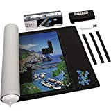 Becko Double Sided Puzzle Mat Puzzle Roll Up Storage Mat ResilientNeoprene Puzzle Saver with Auxiliary Lines, Drawstring Bag & Pump, for up to 1500 Pcs(Black/Gray)