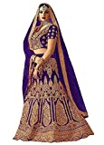 Divine Products India Women's Blue Pure Silk Semi-Stitched Lehenga Choli With Dupatta