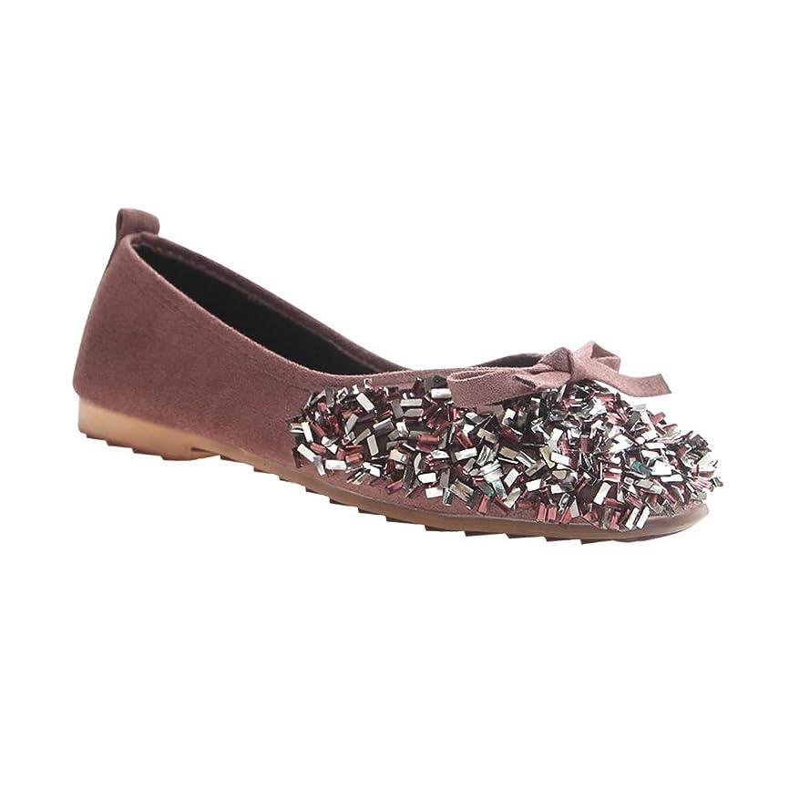 空白避けられないハプニング[Yudesun] レディース バレエシューズ シューズ - フラット 浅い口 ソフト カジュアル スリップオン 弓 スパンコール ローファー 学校 スリッパ ドーリー 女の子 快適です 靴