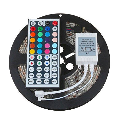 5m RGB LED Streifen Lichtband, LED Strip Lichterkette Bänder Farbwechsel Selbstklebend Lichtband mit Ferbedienung TV Hintergrundbeleuchtung