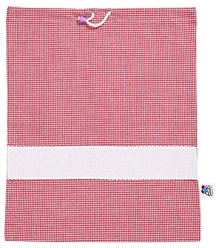 Filet Filet – Bolsa para guardería de cuadros teñidos de hilo con tela Aida para bordar, rojo y blanco, 45 g