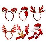 Toyvian Lot de 6 serre-têtes de Noël en forme de renne, bonhomme de neige et Père Noël