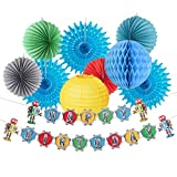 Paper Jazz Retro Robot Theme Birthday Party Decoration Hanging Happy Birthday Banner Paper Lanterns/Fans for Baby Shower Party (Kit)