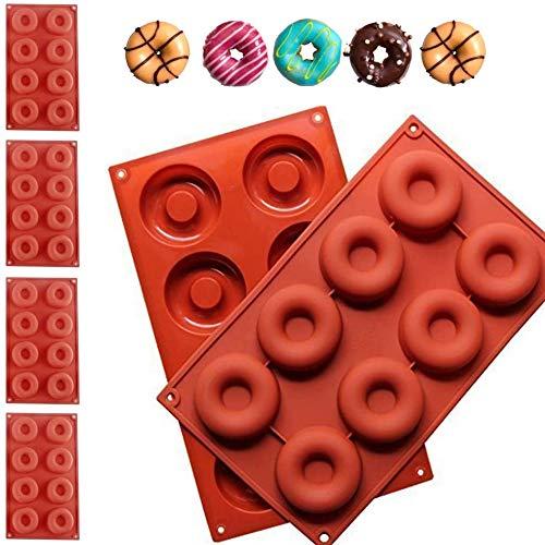 WENTS Silicona para Donut 4 pcs Molde para Donut de Silicona con 8 Agujeros Antiadherente Molde para Pasteles/Galletas/Bagels/Magdalenas (Rojo Ladrillo)