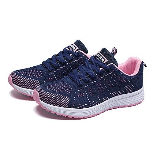 Winging Zapatillas de deporte planas con correas cruzadas de malla de moda para mujer Zapatillas casuales de deporte con punta redonda para correr de Color sólido