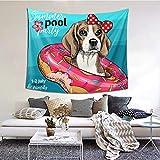 ZVEZVI Retrato Beagle Perro natación Agua Animal Tapiz Arte de Pared para Sala...