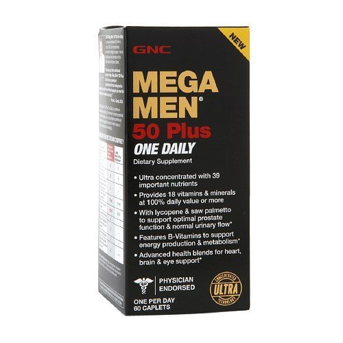 GNC Men's Mega Men 50 Plus One Daily Multivitamin, Caplets 60 ea by AB