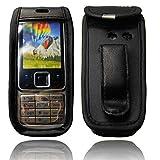 caseroxx Hülle Ledertasche mit Gürtelclip für Nokia 6300 aus Echtleder, Tasche mit Gürtelclip & Sichtfenster in schwarz