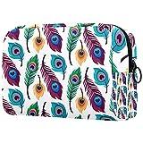 Neceser de viaje, impermeable, bolsa de aseo para mujeres y niñas, patrón de plumas de pavo real, 18,5 x 7,5 x 13 cm
