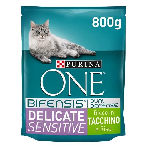 Purina One Bifensis Crocchette Gatto Delicate Ricco in Tacchino - 8 Sacchi da 800 g Ciascuno