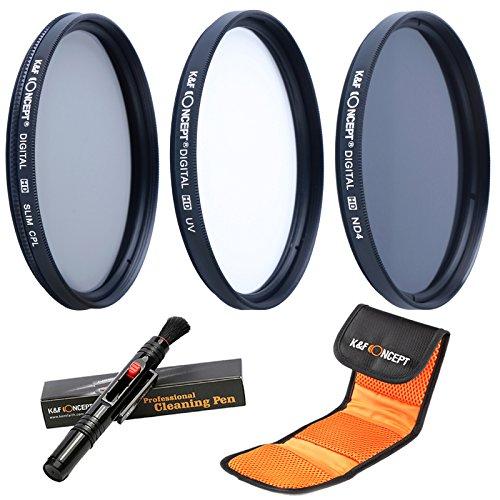 K&F Concept® Objektiv Filterset 67mm ND Filter 67mm ND4 Filter 67mm UV Filter 67mm CPL Filter 67mm für Canon Nikon DSLR Kamera mit Reinigungspinsel und 3 Fächer Filtertasche