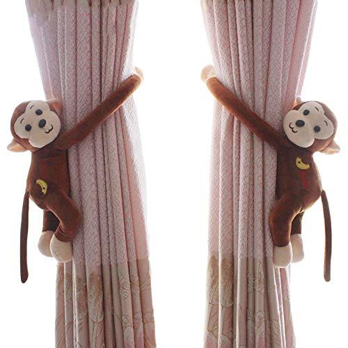 Funbase Vorhanghalter für Kinderzimmer, Cartoon-Affe, 1 Paar 16*13*5cm dunkelbraun