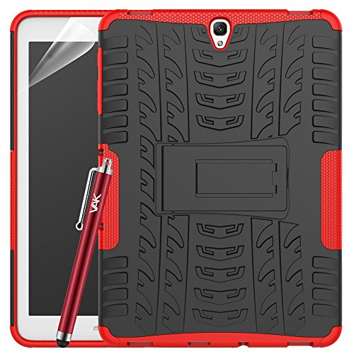 Samsung Galaxy Tab S3 9.7 Case (SM-T820 T825), Heavy Duty Armour Tough ShockProof Builder Hard Back Case Cover With Stand + Screen Protector & Cloth & Touch Stylus (Red)