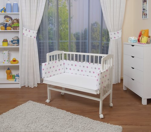 WALDIN Baby,Lettino culla,altezza regolabile,paracolpi e materasso,in 16 varianti,Superficie d'appoggio EXTRA lung. 90 x larg. 55 cm, bianco laccato,bianco/stella grigio-rosa