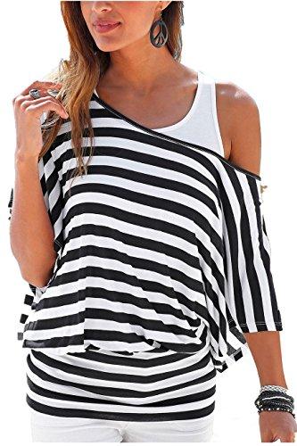 Uniquestyle Damen Gestreiftes T-Shirt Sommer Kurzarm Oberteile 2 in 1 Strandshirt weiß-schwarz S