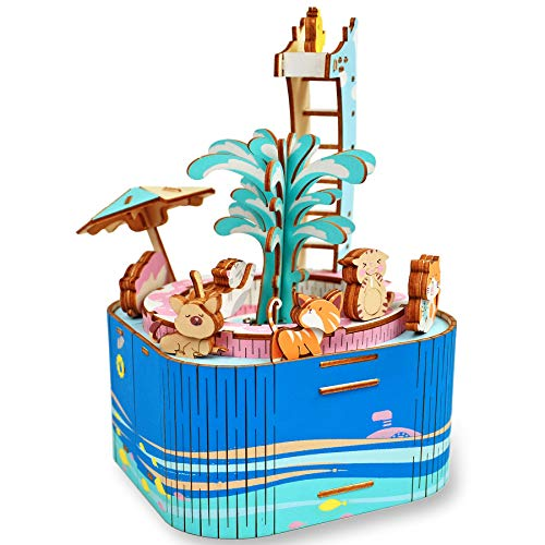 3D Wooden Puzzle for Adults and Kids Ages 12+ Years Old, 57Pcs DIY Music Box - Wood Craft Kits - Colorful Rotating Wood Puzzles Best Birthday for Women and Girls (Pool Party)