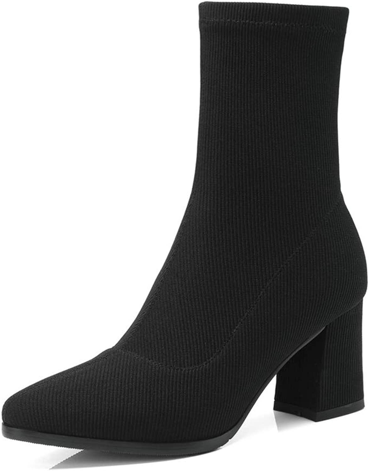 AVENBER Women Mid Calf Boots Knitting All Match Fashion Comfortable Elastic Pointd Toe Winter Block Heel Ankle shoes