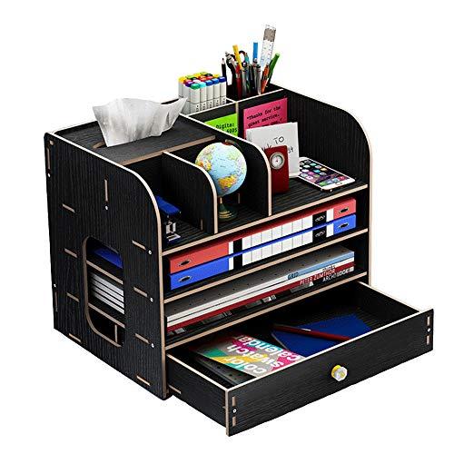 Organizzatore da scrivania, grande organizer da scrivania in legno con cassetto portapenne portapenne per scrivania, ufficio, casa e scuola, 32 x 26 x 22,5 cm (nero)