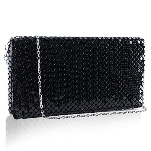two the nines Evening Bag for Women Sparkly Sequin Clutch Purses for Party Wedding Handbag with Chain Crossbody Shoulder Clutch Bag Black