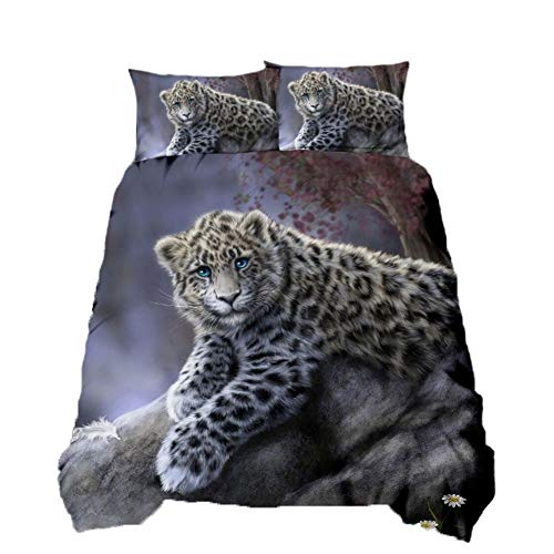Loussiesd Snow Leopard Bedding Set for Kids Boys Teens 3D Animal Print Comforter Cover Wildlife Duvet Cover Cute Leopard in the Forest Man Bedspread Cover Single with 1 Pillowcase Zipper