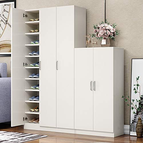 GFGF QWFGYR Shoe Cabinet Simple Modern Hall Cabinet Multi-Layer Balcony Large Capacity Storage Solid Wood