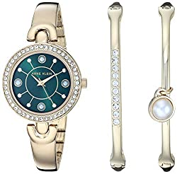 Gold/Green Swarovski Crystal Accented Watch and Bangle Set